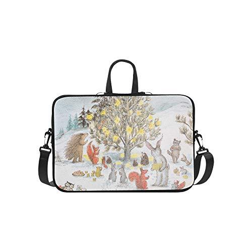 Harvey Hares Christmas Illustration Bernadette Wat Pattern Briefcase Laptop Bag Messenger Shoulder Work Bag Crossbody Handbag for Business Travelling