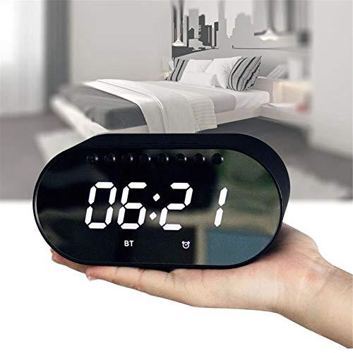 Mississ Altavoces inalámbricos Bluetooth, Radio Reloj Despertador doméstico con Altavoz de Alta Potencia, excelente Sonido estéreo, diseño de Pantalla de Espejo LCD Enorme Comfy