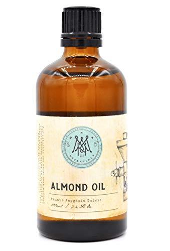 MNA Süßes Mandelöl 100ml - natürliche, Vegan, Körperöl und parfümfreies Feuchtigkeitssöl für Haare, Haut, Hände und Nägel sowie als sanfter Make-up Entferner