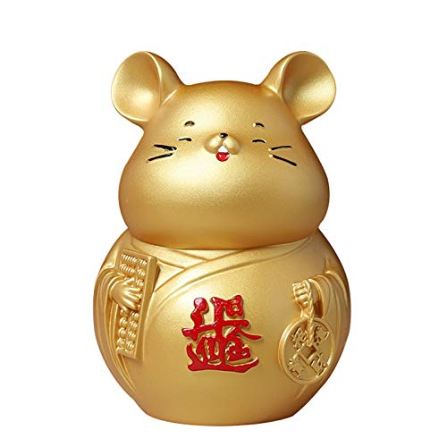 DGFTC-2 Rat Decoration Piggy Banks, 2020 Chinese Zodiac Rat Year Mascot, Anti-Fall Figurines Coin Box, Home Creative Ornaments,Best Gift for Boys Girls
