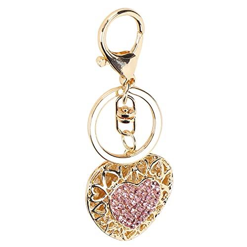 Pssopp Llavero con Diamantes de imitación, diseño en Forma de corazón de Amor Rosa, Llavero, Bolso, Bolso, Colgante para teléfono, Encanto para Mujer