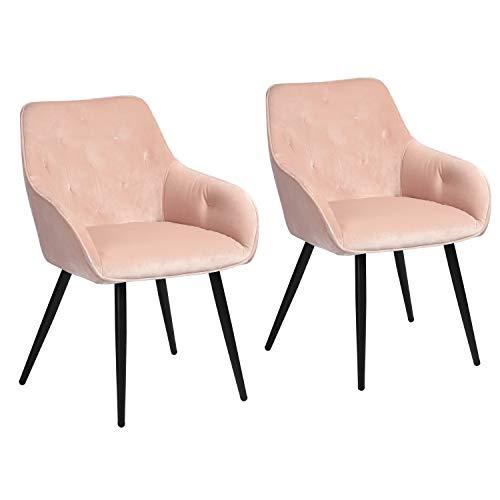 MEUBLE COSY Mueble – Juego de 2 sillas de Comedor escandinavas de Terciopelo Rosa, sillón de salón de diseño con reposabrazos – Rosa, 56 x 59 x 75 cm