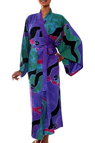 NOVICA Purple Women's Batik Long Robe, 'Turquoise Ocean' (One Size Fits Most)