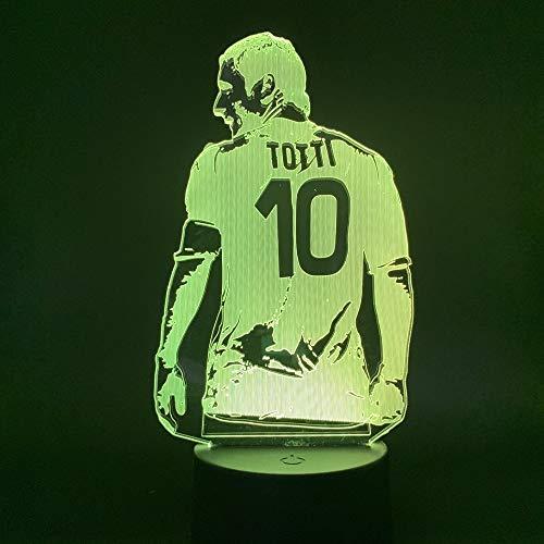 Led Soccer Football Player Francesco Totti Vista posterior Figura Office Night Light 3D LED USB Lámpara de mesa regalo de cumpleaños para niños decoración de la habitación junto a la cama
