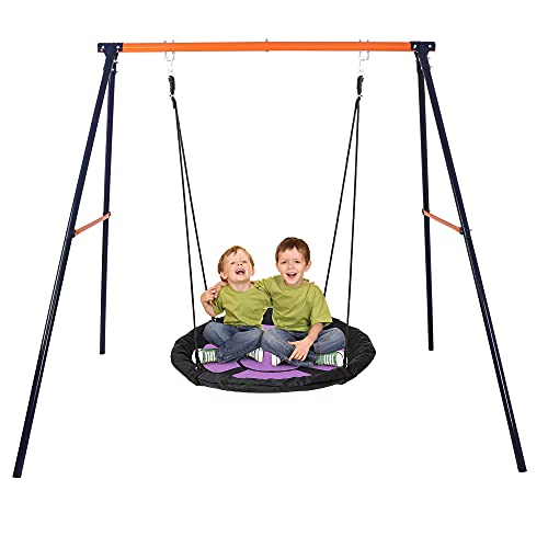 SUPER DEAL 40' Kids Web Tree Swing Saucer Swing Set Combo - 40'' Purple Web Tree Swing + Heavy Duty A-Frame Metal Swing Set, Resilient and Resistant to All Types of Weather