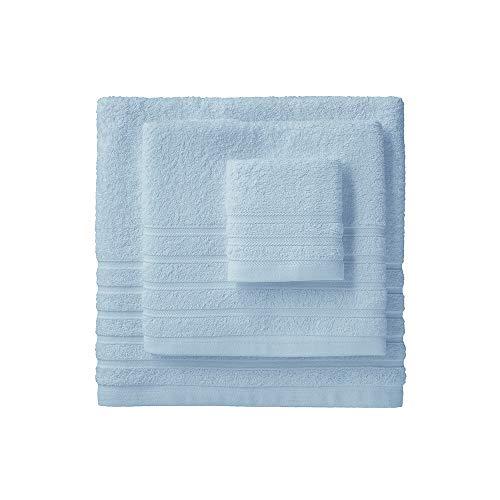 Barceló Hogar 05040010010 Juego de 3 toallas para bidé, lavabo y ducha, modelo Diamante, rizo americano, celeste