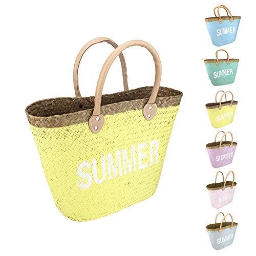 Quantio Seegras Strandtasche Summer - blau, türkis, gelb, pink, rosa oder grau - 40 x 37 x 13 cm (HxBxT) - Der ideale Freizeit und Urlaubsbegleiter - Farbe wählbar, Farbe:Gelb