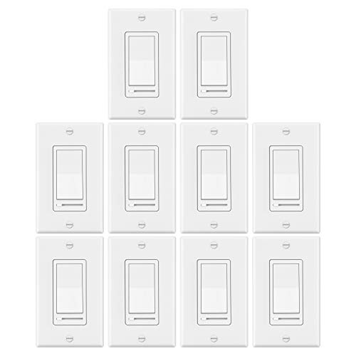 10 Pack - ELECTECK Dimmer Light Switch, Compatible with Max. 600W Incandescent/Halogen Bulbs and Max. 150W CFL/LED Dimmable Lamps, Single-Pole or 3-Way, Decorative Wall Plate Included, White