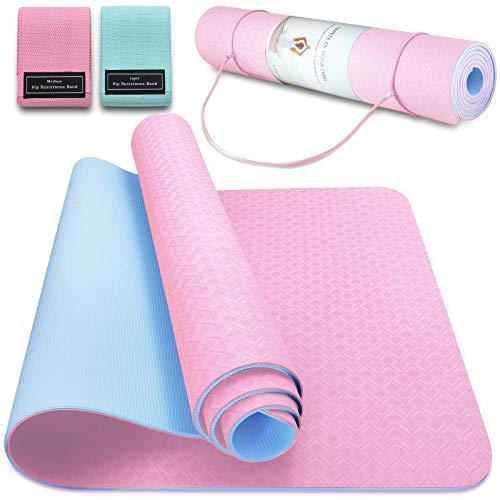 Tappetino da Yoga TPE Tappetino Fitness Palestra Pilates Tappetini Sport Materassino Yoga Mat Antiscivolo Pieghevole, 183 x 63 x 0,6 cm (Rosa + Blu ghiaccio)