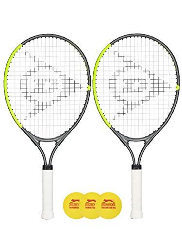 Dunlop - Juego de 2 raquetas de tenis para niños (19 pulgadas, 21 pulgadas, 23 pulgadas y 25 pulgadas), incluye cubierta protectora para la cabeza y pelotas a elegir