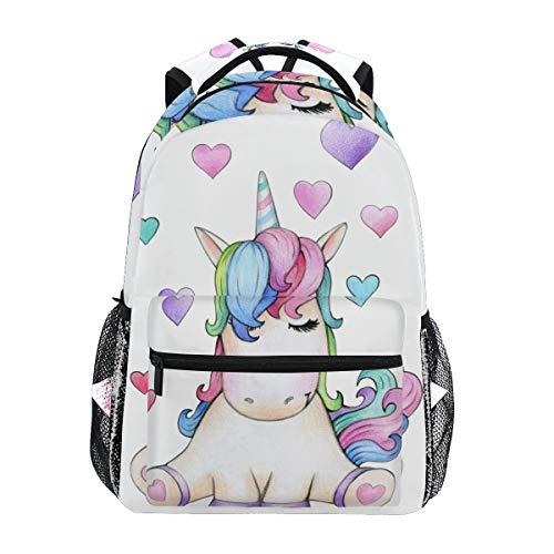 Ahomy mochila escolar para adolescentes y niñas, con diseño de unicornio sentado con corazones, mochila de viaje, bolsa de senderismo para mujeres y hombres