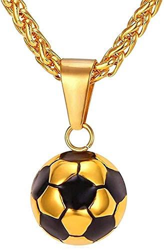 ZJJLWL Co.,ltd Collar Collar Collares de fútbol Joyas para Hombres Color Dorado Acero Inoxidable Fitness Fútbol Deportes Colgante y Cadena para papá Collar Colgante para Mujeres Hombres
