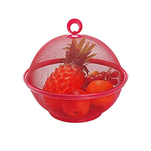 litty089 Home Keuken Container Houder, Effen Kleur Draining Wasmand met Deksel, Geschikt voor Groenten Fruit Bowl Big Red