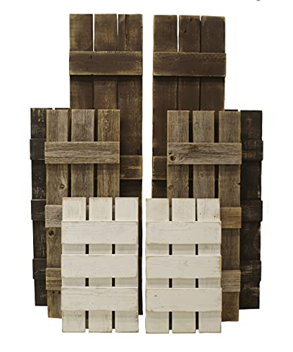 Rustic Wooden Window Shutters -Custom Sizing- Real Reclaimed Barn Wood Slat Exterior or Interior Decorative Modern Farmhouse Barnwood Décor, SET of 2, Indoor Outdoor Large Small Made to Measure