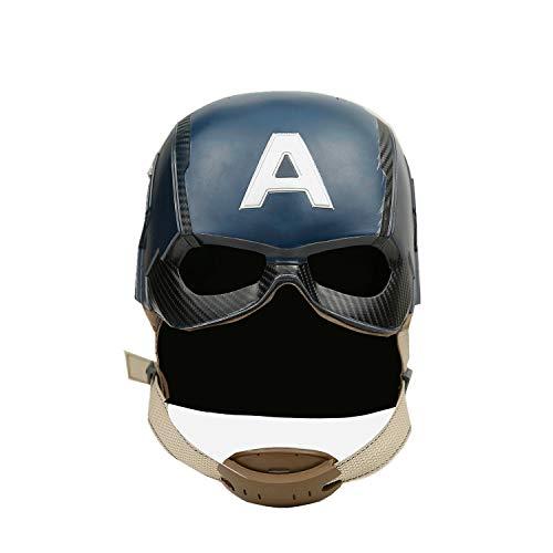 Captain America Helmet Cosplay Mask Prop Blue 1:1 Replica for Men