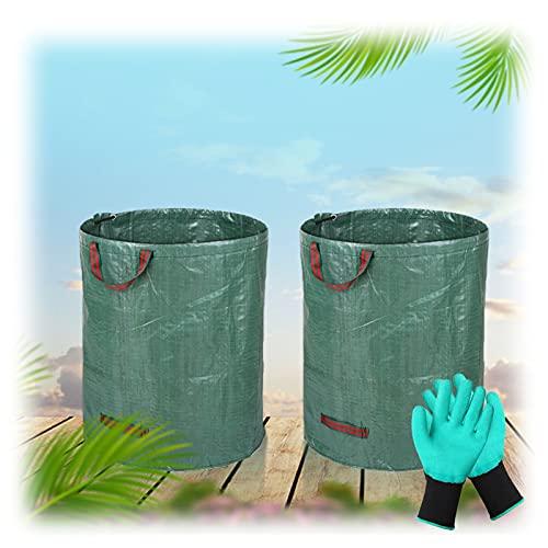 ZHANGXJ 300 litros Bolsas para Desechos De Jardín, Tarea Pesada Grande Rechazar Sacos con Asas, Impermeable Prueba lágrima Reutilizable Plegable Bolsas de Hierba de Hoja Paquete de 2