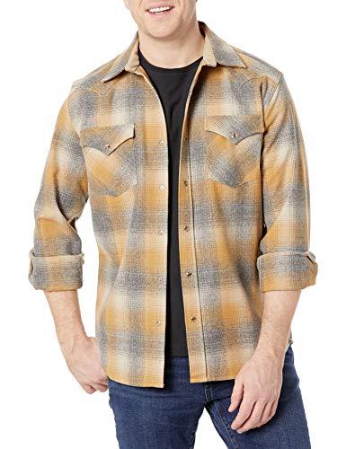 Pendleton Herren Long Sleeve Front Classic-fit Canyon Shirt Button Down Hemd, Hellbraun/Grau/Gold Ombre Plaid, Groß