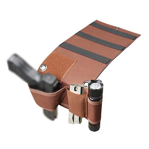 N \ A Funda de Pistola táctica para Cama, Funda para Pistola de cabecera, Funda para Pistola de colchón Universal con Bucle para Linterna, se Adapta a Glock, Beretta, Ruger, Pistolas compactas, etc.