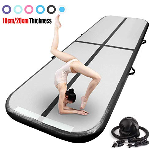 FBSPORT 10ft Inflatable Gymnastics Air Track Tumbling Mat 4 inches Thickness Airtrack Mats for Home Use/Training/Cheerleading/Yoga/Water with Pump