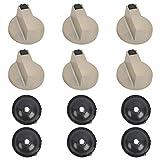 6 Piezas Mandos Cocina Gas para Estufa de Gas con 6 Juntas, 8 mm Pomos Giratorios para Cocina Botones Universal de Interruptor, Accesorios de Repuesto de Cocina para Varios Gornos y Cocinas