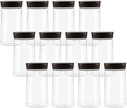 Bekith 12 Stück Kunststoffdose Transparent Aufbewahrungsbehälter Mehrweg Vorratsdose mit Deckel für Lebensmittel Gewürze Kräuter Tee Kaffee Zucker, 360ml