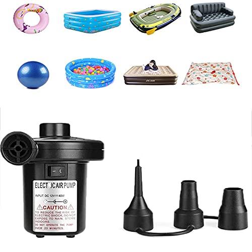 NGLSCXR Bomba de aire de batería recargable, bombas del deflactor del inflador portátil, camas de aire Piscina de natación Piscina flotan balsa de juguete, bomba de colchón de aire con 3 boquillas y U