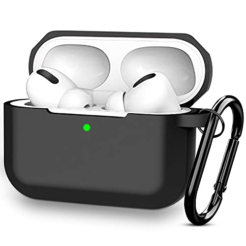 Capa protetora de silicone compatível AirPods Pro para Apple Airpod Pro 2019 (LED frontal visível), Preto