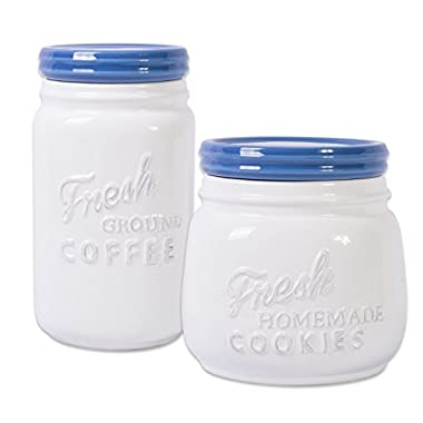 DII 2-Piece Vintage, Retro, Farmhouse Chic, Mason Jar Inspired Ceramic Kitchen Canister, Cookie Jar with Airtight Lid for Food Storage, Store Coffee, Cookies, Crackers, Chips and More - Blueberry