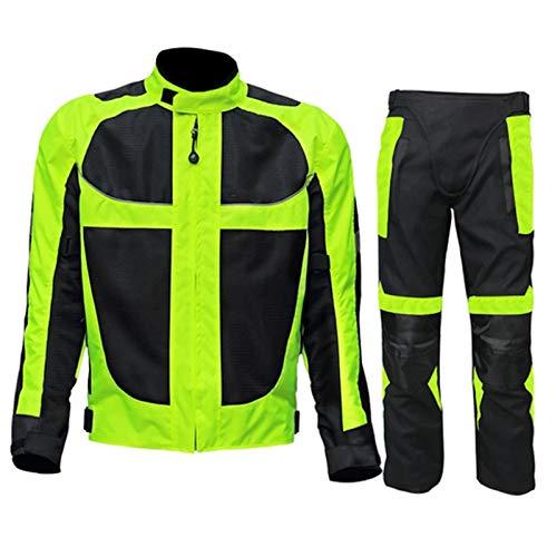 DNJKH Conjunto de Chaqueta y Pantalón para Moto de Carreras, Verano Chaqueta Protectora de Malla Transpirable para Motocicleta