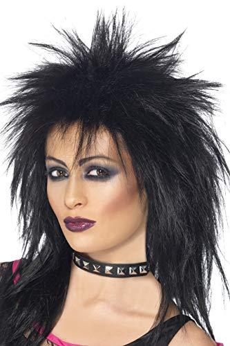 Smiffys Damen Lange Zerzauste Vokuhila Perücke, Rock Diva Perücke, Schwarz, 42238