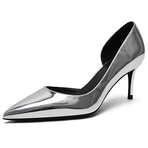 Zoducaran 6.5CM Heel Elegante Mujer 2 Pieces Pumps Stiletto Heels Ponerse Business Zapatos Basic Pointed Toe Boda Party Heels Patent Silver Size 38