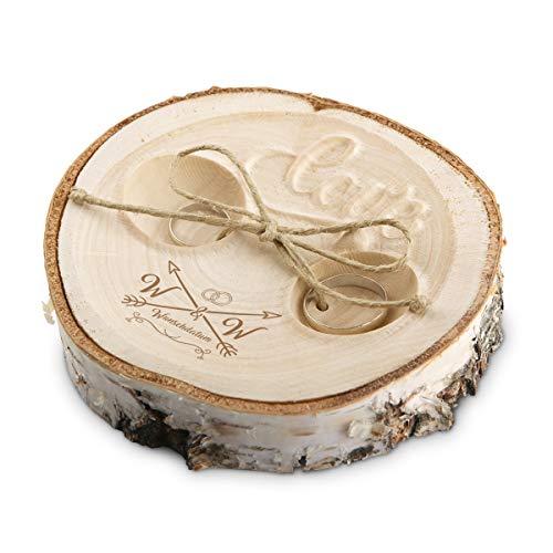Hochzeit Ringkissen Love Birkenscheibe Gravur individuell ca. 11 cm Durchmesser - Liebespfeil