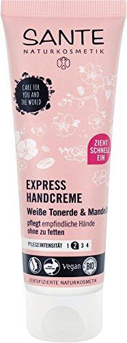 SANTE Naturkosmetik Express Handcreme mit Tonerde, Express-Feuchtigkeit ohne Fettfilm, Mit Mandelöl, Vegan, 4x75ml Multipack
