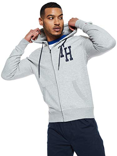 Tommy Hilfiger Herren Hilfiger Hooded Zip Through Sweatshirt, Grau (Cloud Htr 501), Medium
