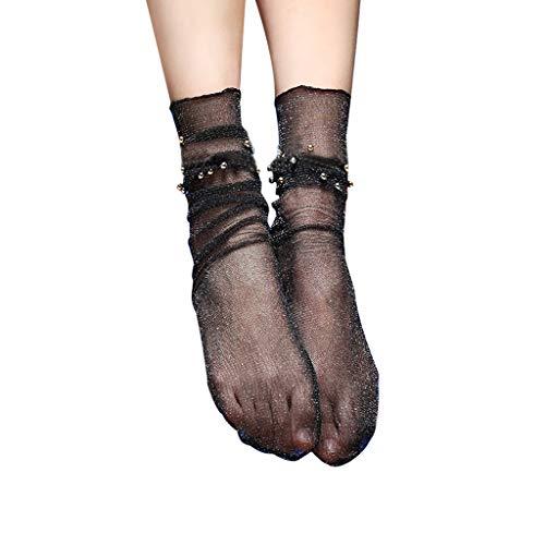 12shage Frauen Rüschen Fischnetz Söckchen Mesh Spitze Fishnet Short Socken