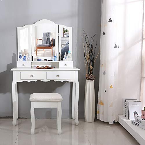 XUANYU Toeletta con 3 Specchiera, Tavolo Cosmetici, Toeletta Set, Tavolino da Trucco con Sgabello