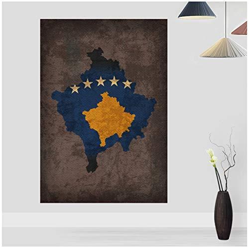 Land Vlag Kaarten Poster Kosovo Land Vlag Kaart Doek Home Decor Wall Art-50x70cm Geen Frame