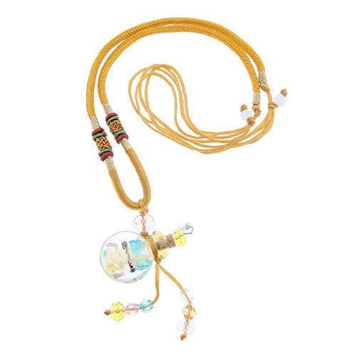 #N/a Precioso Collar de Difusor de Aromaterapia de Aceite Esencial con Medallón de Botella de Vidrio Caliente - dorado