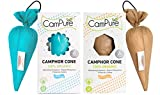 MANGALAM CamPure Camphor Cone, 45 Days Scent for Cars, Room Freshener with Mosquito Repellent Properties (Original and Sandalwood) -2 Pack
