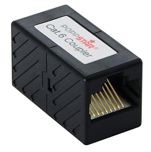 Poppstar Cable Patch de Acoplamiento RJ45 (Adaptador 2X RJ-45 enchufes (Hembra), E-TA 8/8), Modelo Cat.6 Recubierto, transmisiones 10/100/1000 MB/s