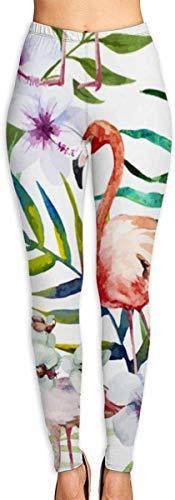 Irener Yoga-Hosen-Sport-Trainingsgamaschen Flamingos Watercolor Tropics Pattern Womens Fitness Yoga Leggings for Sport Capri Yoga Pant (S-2XL)