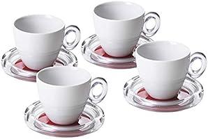 Omada Design 4 tazze da tè da 20 cl ciascuna e piattini colorati, rispettivamente in porcellana e acrilico trasparente,...