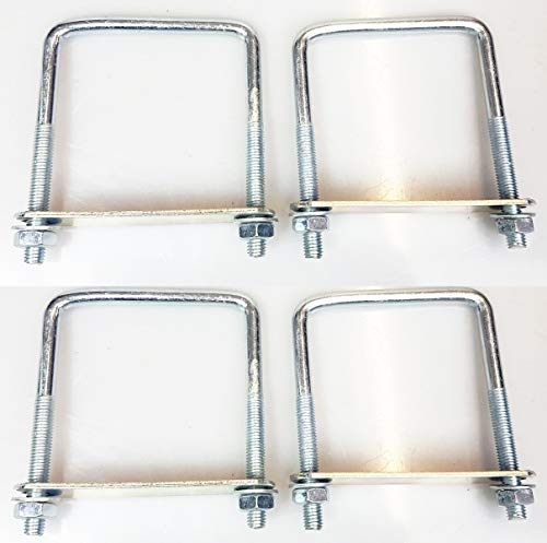 4 x square Brackets u bolts for Boat trailer 90 wide x120 high x 10mm thick with Nuts & Plate UB2 UBS-90C