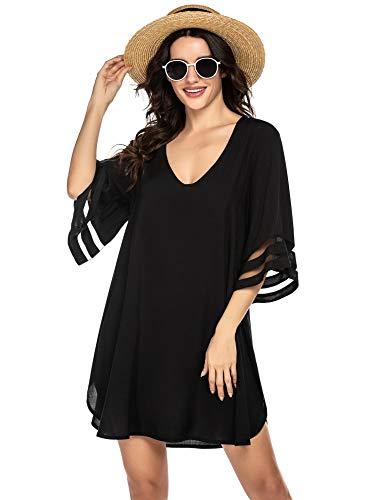Ekouaer Women's Beach Coverups Swimwear Swimsuit Bikini Swimsuit Swim Cover Ups Black