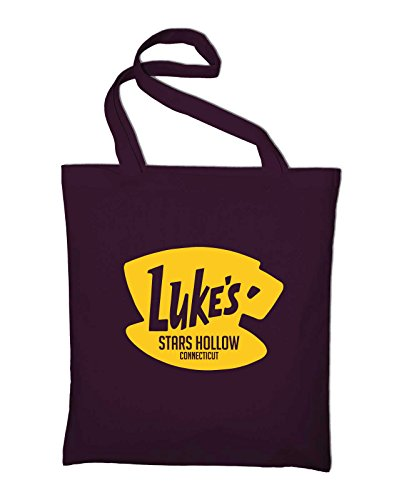 Styletex23 Luke's Stars Hollow Diner Cafe Logo Fan Jutebeutel Baumwolltasche, maroon