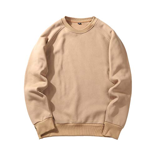 UJUNAOR Herren Langarm Hoodie T-Shirt Kapuzenshirt Mit Kapuze Männer Pullover in Vielen Farben (S, T-Khaki)