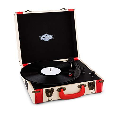 AUNA Jerry Lee - Platine Vinyle , Tourne-Disque , Entraînement par Courroie , Enceintes Stéréo , Prise USB pour digitaliser , 3 Vitesses , 33, 45 et 78 Tours. , 3 Tailles de Disque , Rouge et Blanc