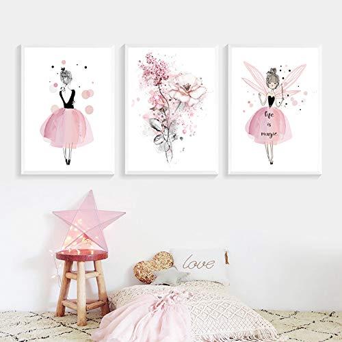 Lot de 3 Affiches 30x40 Fille Chambre d'enfant Rose Tableaux Décorations Murales Peinture sur Toile Cadeaux Anniversaire NPTWC003-M