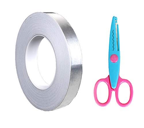 アルミテープ PORAXY 導電性アルミ箔テープ 静電気除去 アルミテープチューン 導電性 アルミ粘着テープ 20mm×500mm はさみ付き 2点セット静電気除去 耐熱 防水 水漏れ 配管修理… (2)
