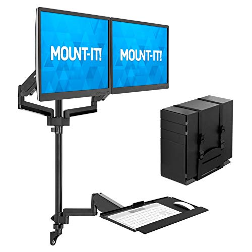 Mount-It! Wall Mount Workstation with Dual Monitor Mount, Keyboard Tray and CPU Holder, Height Adjustable Full Motion Arms, Fits Two 32 Inch Computer Screens